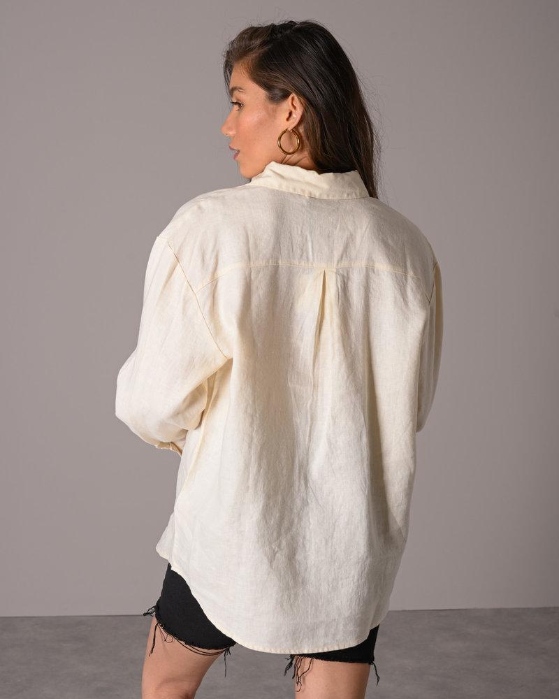 Oversized Linen Shirt Light Beige