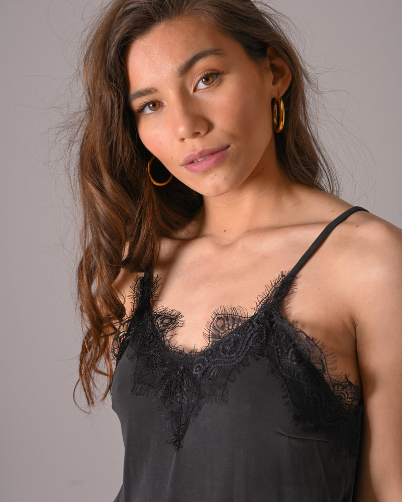 Lilliane Modal Lace Singlet Black