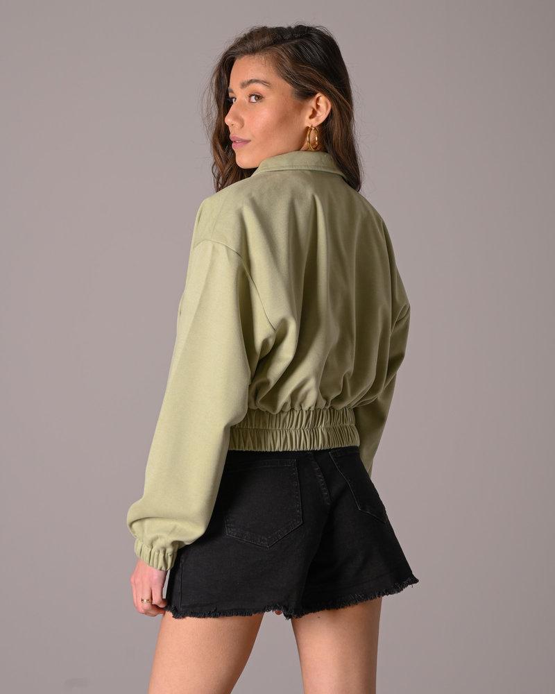 Elastic Hem Short Jacket Green