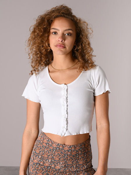 Things I Like Things I Love TILTIL Noami Button Top White
