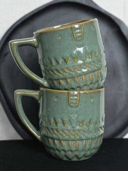 Madam Stoltz Mug Face Green
