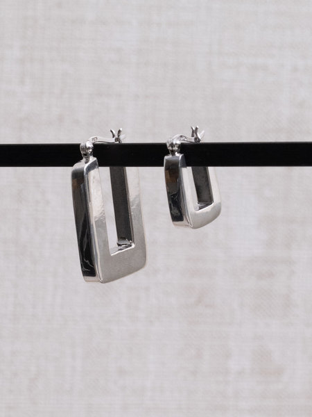 Things I Like Things I Love TTS Square Silver Hoop