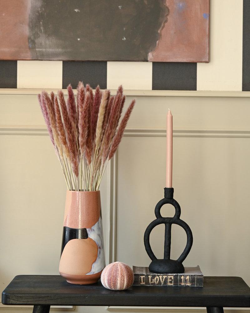 Candle Holder Black Poly Single