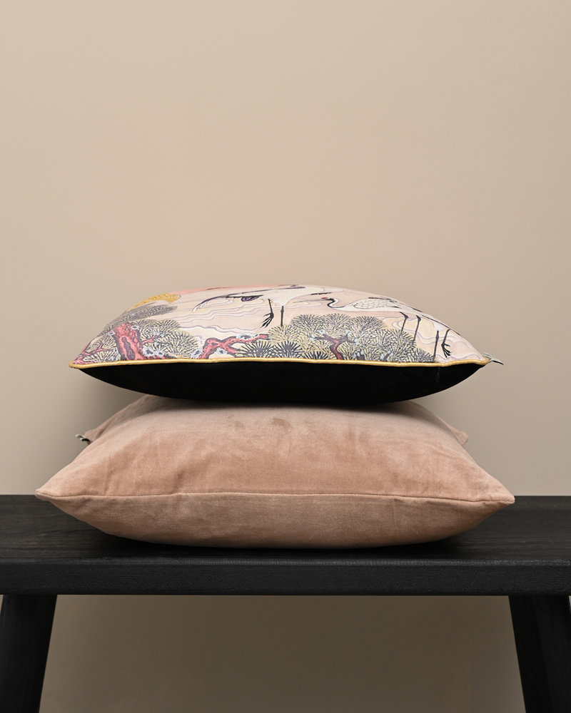 Cushion Crane Velvet Pink
