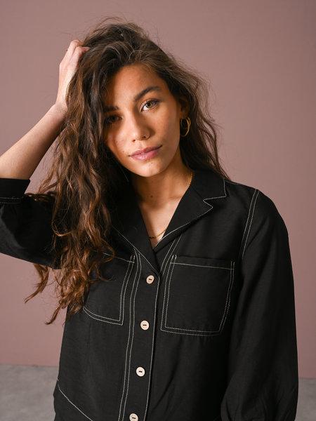 YAS Leno 3/4 Shirt Black