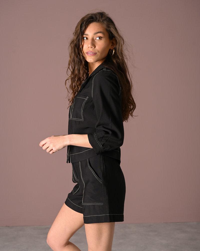 Leno 3/4 Shirt Black