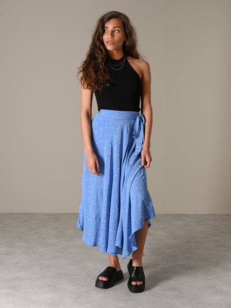 YAS Esla Midi Wrap Skirt Silver Lake Blue