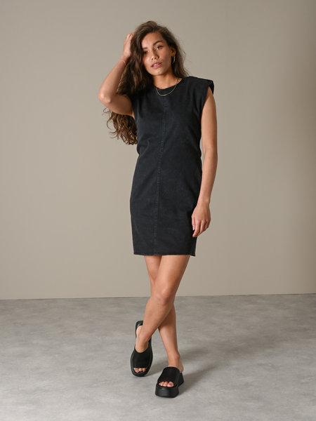 Noisy May Alicia Shoulderpad Denim Dress Black