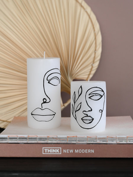 White Candle With Face