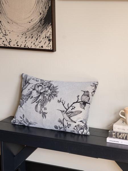 Cushion Grey Flower Bird