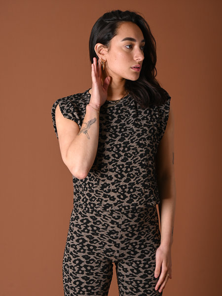 Noisy May Frede Padded Jacquard Top Leopard