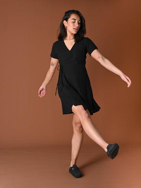 Things I Like Things I Love TILTIL Wendy Linnen Wrap Dress Black
