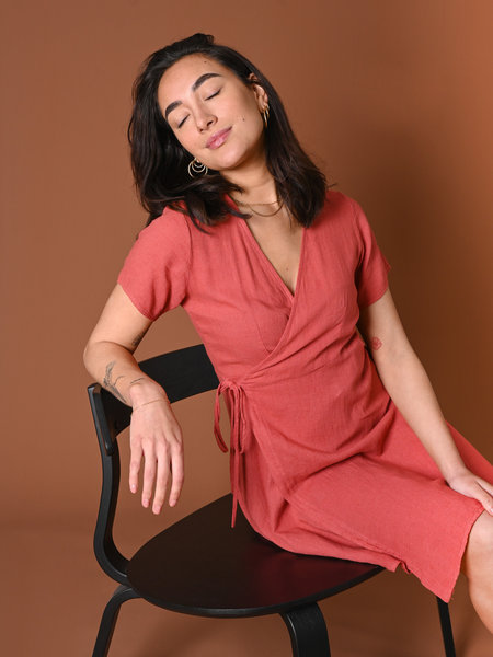 Things I Like Things I Love TILTIL Wendy Linnen Wrap Dress Coral
