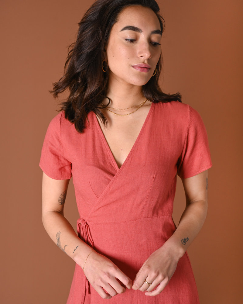 TILTIL Wendy Linnen Wrap Dress Coral