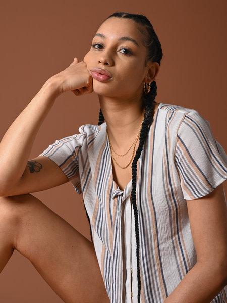 Rut & Circle Vendela Knot Blouse Multi Color Stripe