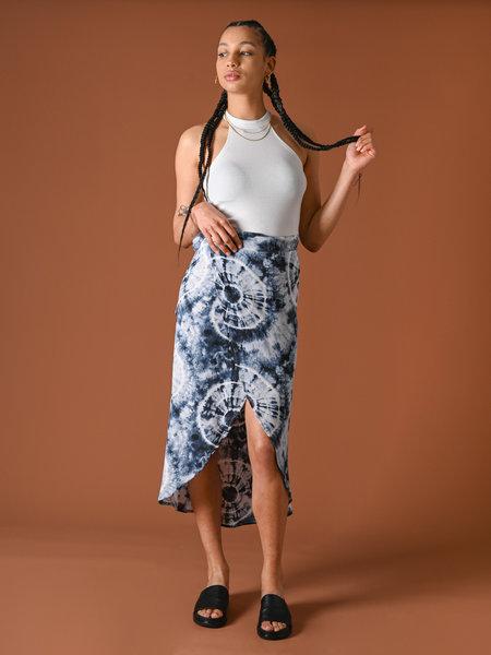 Things I Like Things I Love TILTIL Nene Batik Wrap Skirt Blue