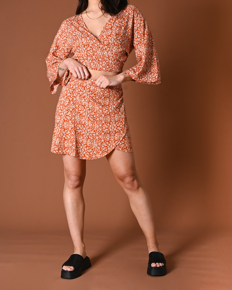 TILTIL Celine  Wrap Skirt Orange Print