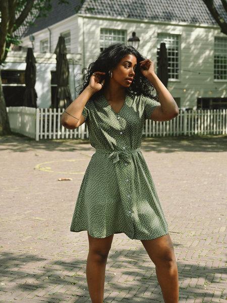 Things I Like Things I Love TILTIL Dora Dotted Dress Olive