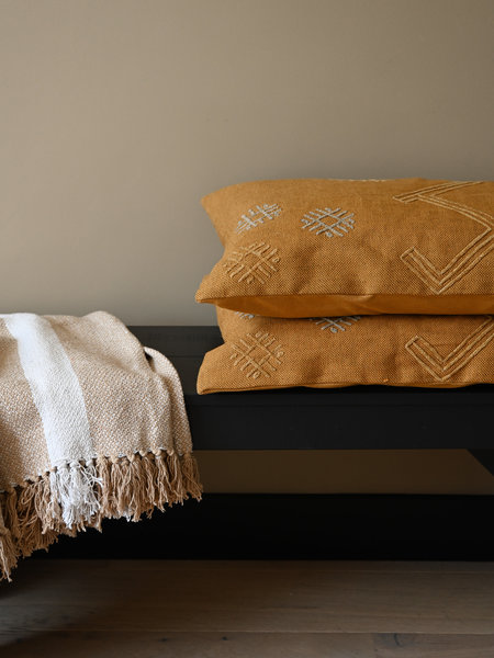 Madam Stoltz Embroidered Cushion Ocher