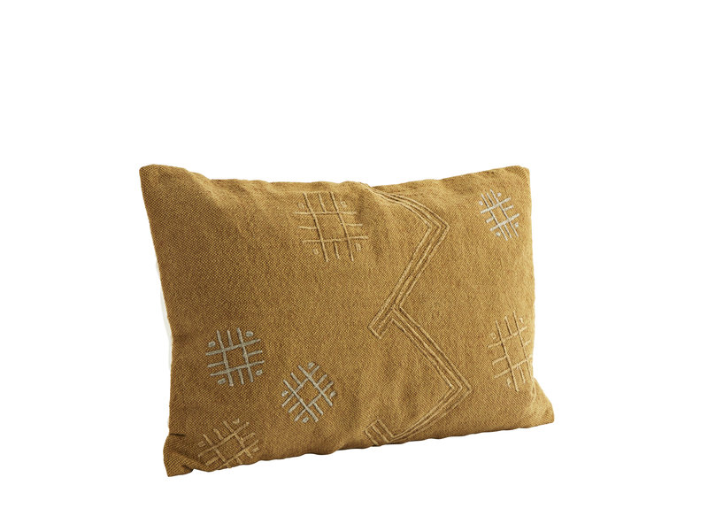 Embroidered Cushion Ocher