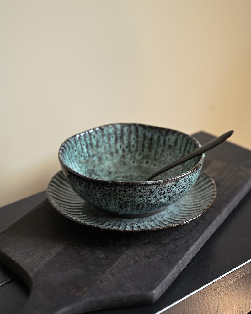 Breakfast Plate Green/Black Stoneware