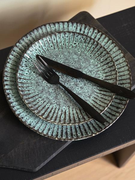 Madam Stoltz Dinner Plate Green/Black Stoneware