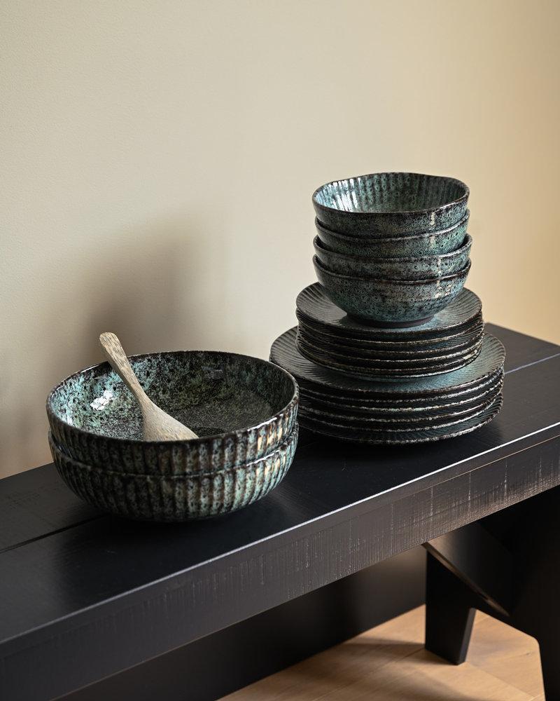 Dinner Plate Green/Black Stoneware