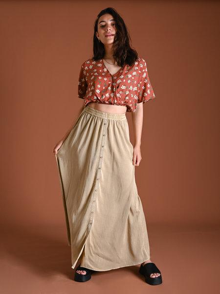 YAS Tenni Maxi Skirt Khaki
