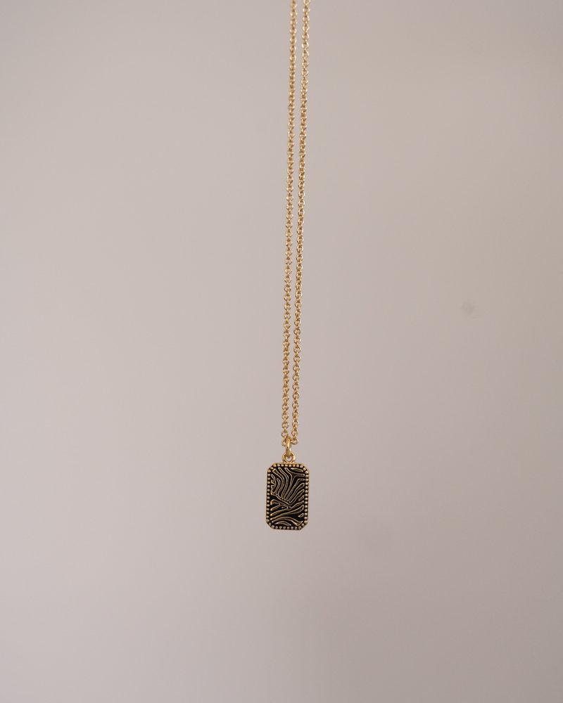 Necklace Zebra Rectangle Gold