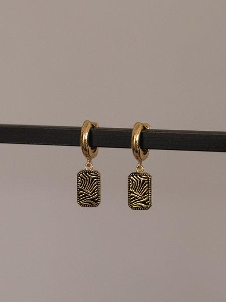 All The Luck In The World Earring Zebra Rectangle Gold