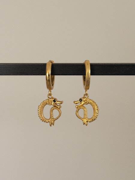 All The Luck In The World East Earring Small Dragon Gold