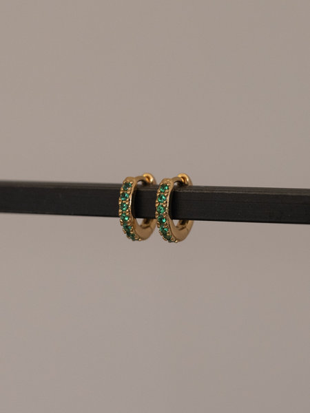 All The Luck In The World Bliss Earring Creole Green Emerald Gold