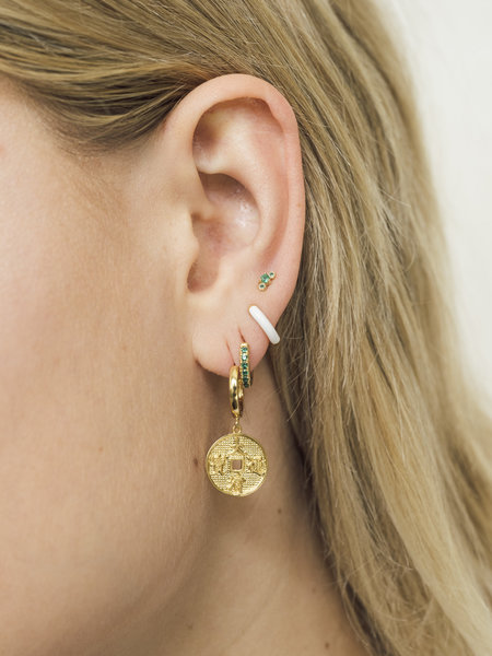 All The Luck In The World East Earring Lucky Coin Gold