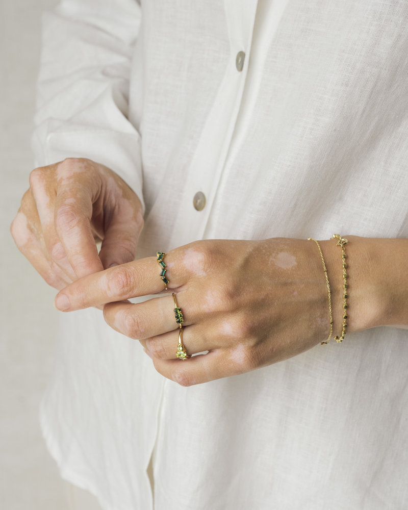Gold Squeezed Beads Bracelet