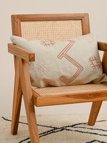 Madam Stoltz Embroidered Cushion Cream/Pink