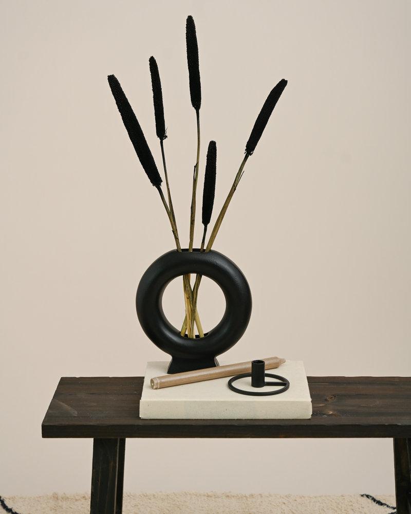 Candle Holder Metal Black Round