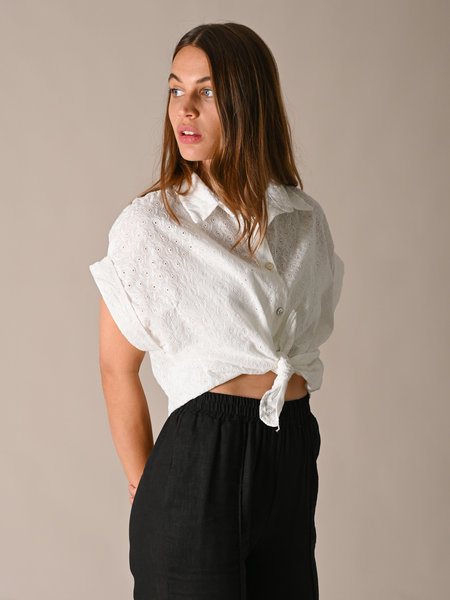 Len's Couture Emmy Embroidery Blouse White
