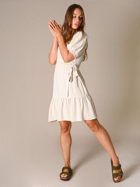 24Colours Dress Linen Mix Beige