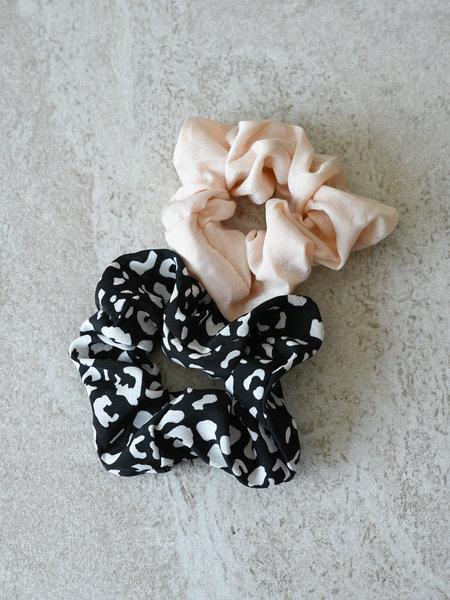 Yehwang Scrunchie Set Black Printed Beige