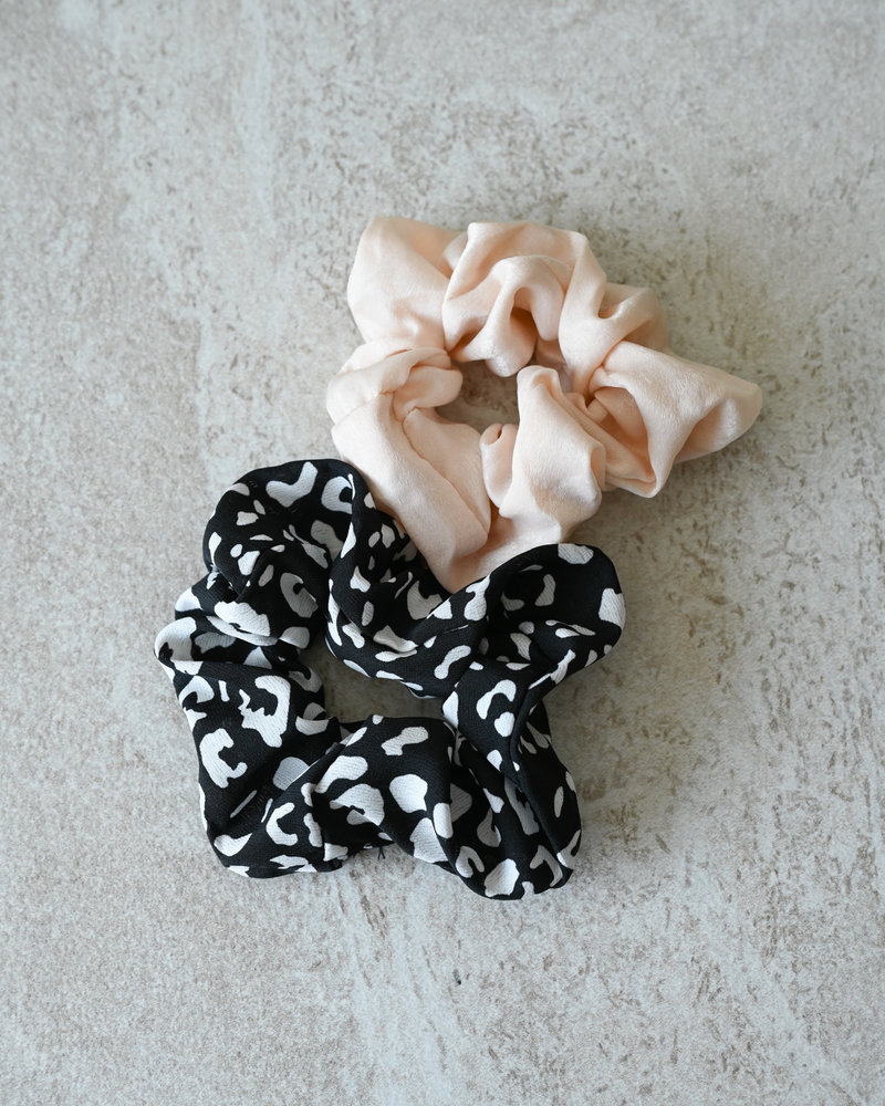 Scrunchie Set Black Printed Beige