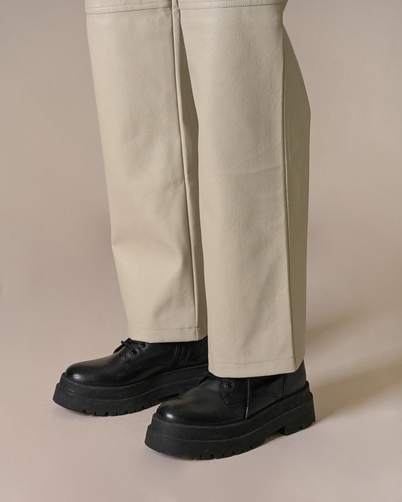 Straight Leg PU Pants Off White