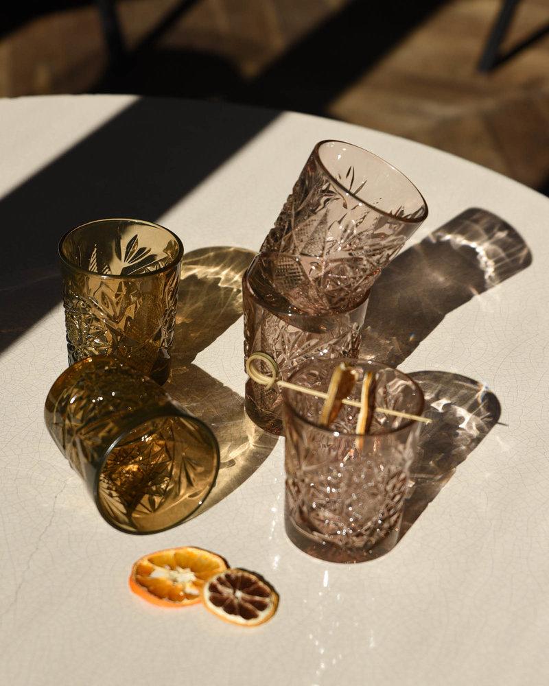Hobstar Tumbler Glass Rose