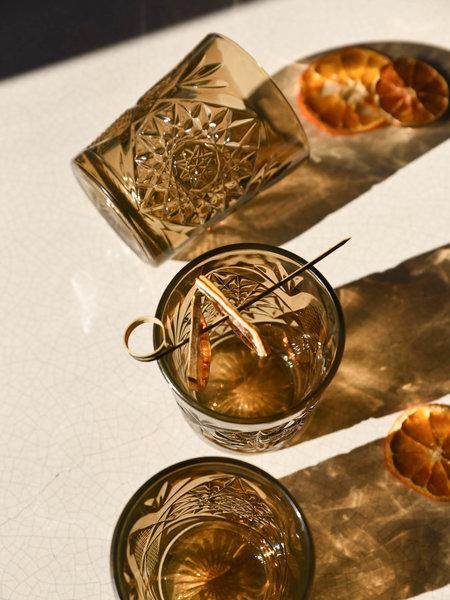 Hobstar Tumbler Glass Ocher