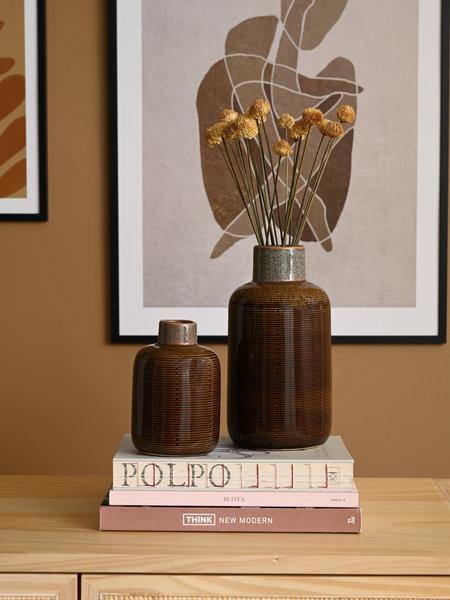 Present Time Bottle Vase Brown Ceramic
