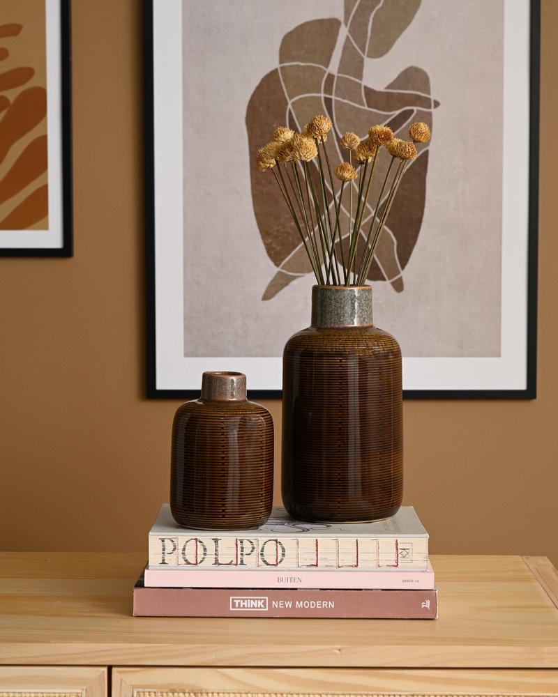 Bottle Vase Brown Ceramic