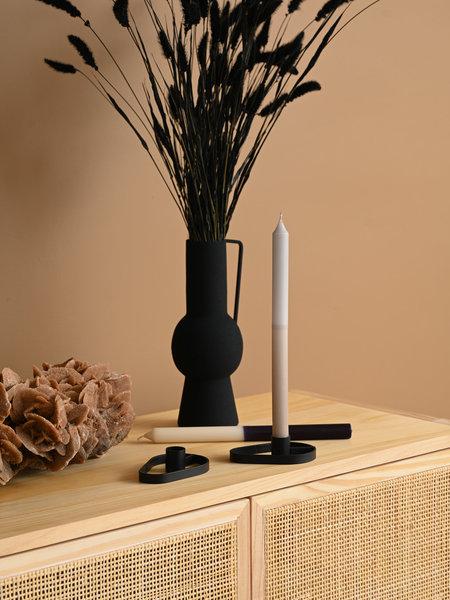 Candle Holder Oval Black