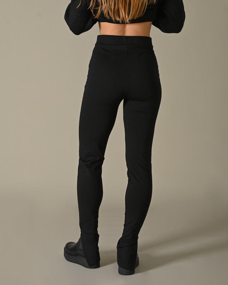 Side Slit Jersey Pants Black