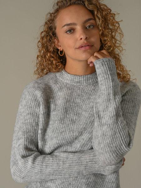 YAS Alva O-Neck Knit Pullover Light Grey Melange