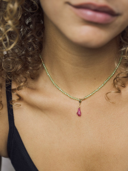 The Two Collectors Goldfilled Necklace Charm July Ruby