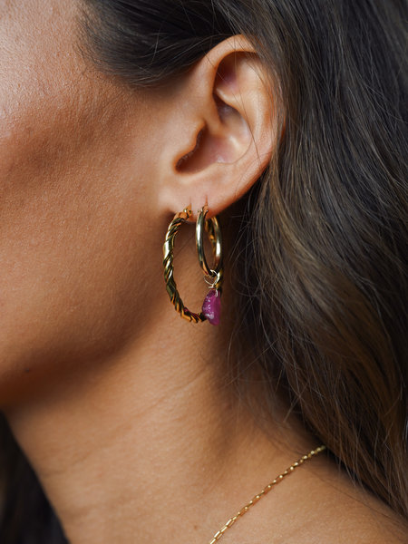 The Two Collectors Goldfilled Earring Charm July Ruby